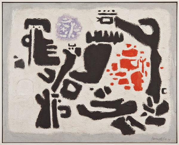 abstraktes Gemälde mit schwarzen Figuren auf weißem Grund